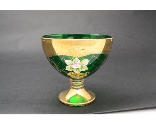 Варенница 13 см Богемия Кристал (Bohemia Crystal) Лепка Зеленая U-R золотая ножка