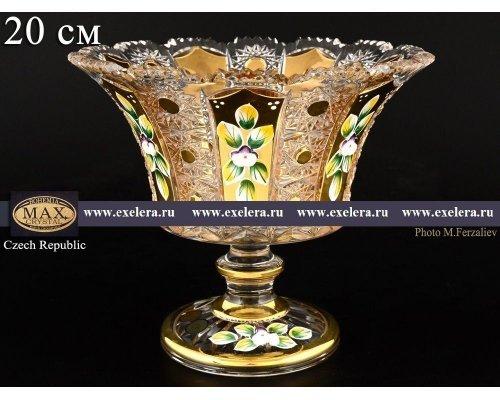 Конфетница 20 см на ножке Max Crystal Золото Bohemia (Богемия)