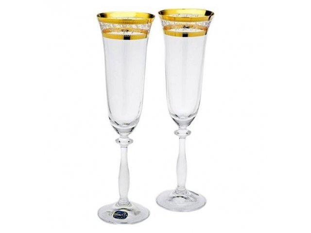 Набор фужеров для шампанского 190 мл Анжела Золотой лист V-D Богемия Кристал (Bohemia Crystal) (6 шт)