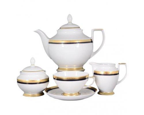 Чайный сервиз на 6 персон 17 предметов Falkenporzellan Cobalt Gold 9030