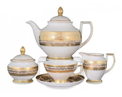 Чайный сервиз на 6 персон 17 предметов Falkenporzellan Diadem Creme Gold