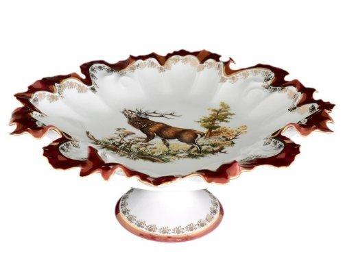 Блюдо фигурное круглое 35см на ножке Охота красная Корона Queens Crown