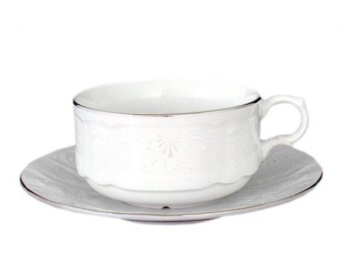Набор чайных пар 320 мл Бернадотт Платиновый узор (6 пар)