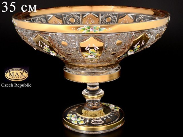Фруктовница 35 см на ножке Max Crystal Золото Bohemia (Богемия)