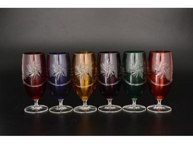 Набор фужеров для шампанского 330 мл Цветной хрусталь Bohemia (Богемия) (6 шт)