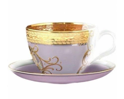 Набор чайных пар 220 мл Версачи Охота розовая B-G Bohemia (Богемия) (6 пар)