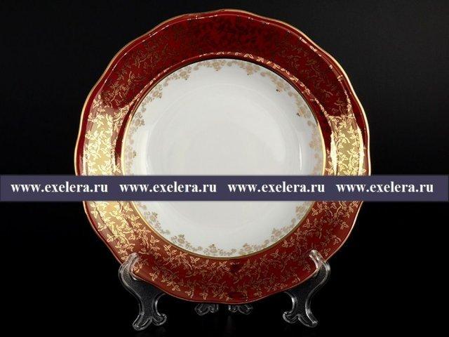 Набор глубоких тарелок 23 см из 6 штук Красная паутинка Royal Czech Porcelain