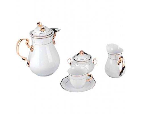 Кофейный сервиз мокко на 6 персон 17 предметов Тхун (Thun) Менуэт Отводка золото