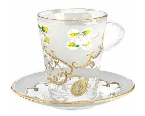 Набор чайных пар белый U-R фон Богемия Кристал (Bohemia Crystal) (6 пар)