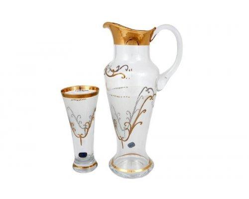 Набор 7 предметов графин и стаканы иксовка Karo золото Богемия Кристал (Bohemia Crystal)