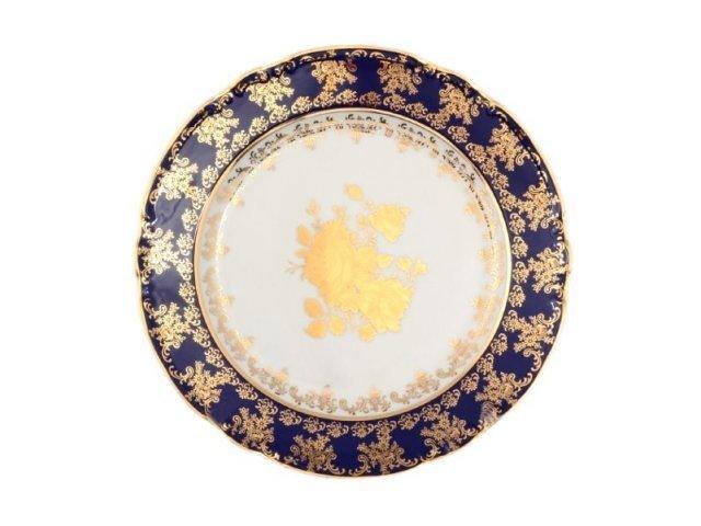Набор тарелок 24 см Тхун (Thun) Констанция Золотая роза Кобальт 7635400 (6 шт)