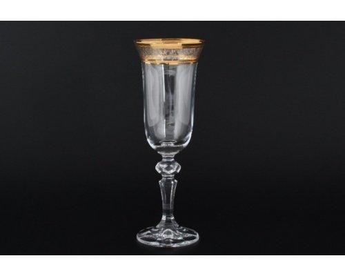 Набор для шампанского 150мл Laura Золотой лист V-D Богемия Кристал (Bohemia Crystal)