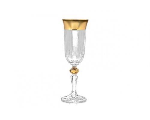 Набор фужеров для шампанского 150 мл Кристина Матовая полоса Богемия Кристал (Bohemia Crystal) (6 шт)