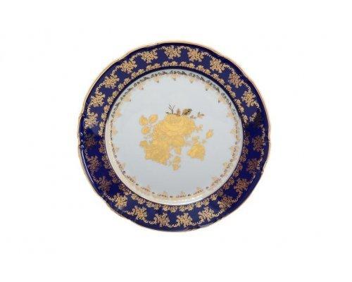 Блюдо круглое 30 см Тхун (Thun) Констанция Золотая роза Кобальт 7635400