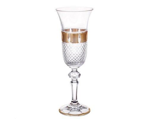 Набор фужеров для шампанского 150 мл Crystal heart Золотые окошки 28806 6 шт