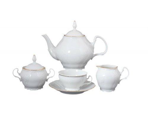 Чайный сервиз на 6 персон 17 предметов Бернадотт Белый узор