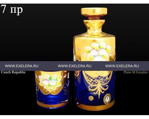 Набор для виски 7 пр Bohemia (Богемия) Лепка Синяя E-V