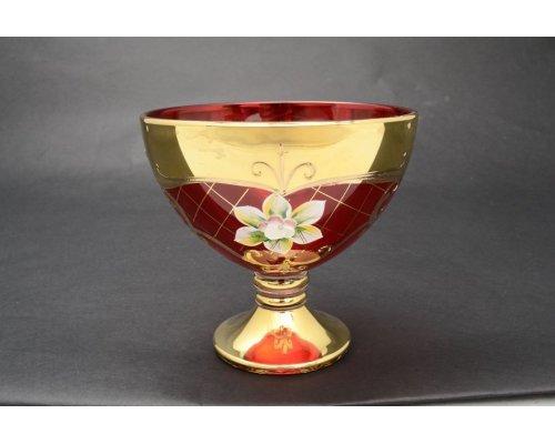 Варенница 13 см Богемия Кристал (Bohemia Crystal) Лепка Красная U-R золотая ножка