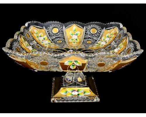 Фруктовница 28 см на ножке Max Crystal Золото Bohemia (Богемия)