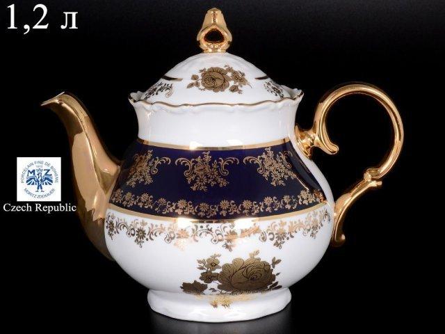 Чайник 1,2 л Офелия Золотая роза Кобальт Мелкий узор Старорольский Фарфор (MZ)