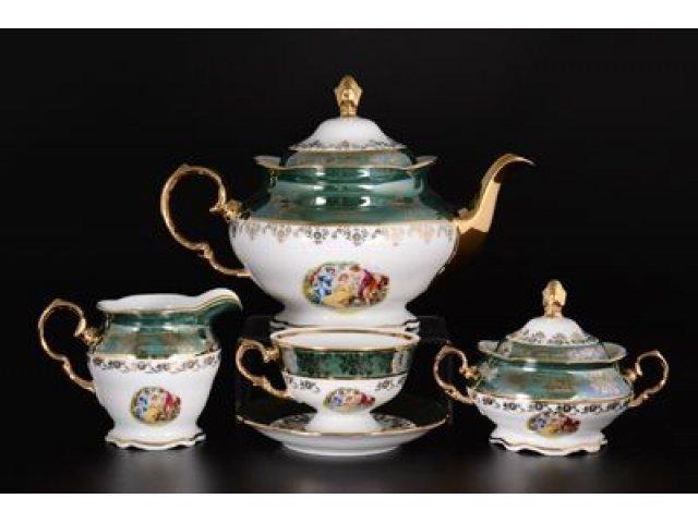 Чайный сервиз на 6 персон 17 предметов Зеленая Мадонна Royal Czech Porcelain