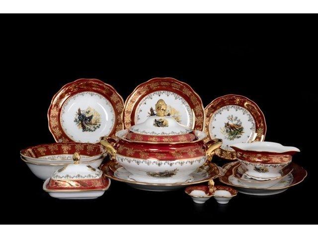 Столовый сервиз на 6 персон 29 предметов Царская Красная Охота Royal Czech Porcelain
