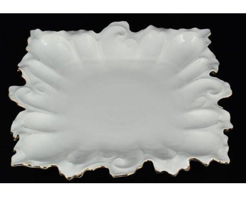 Блюдо фигурное квадратное 32 см Белый узор Корона Queens Crown