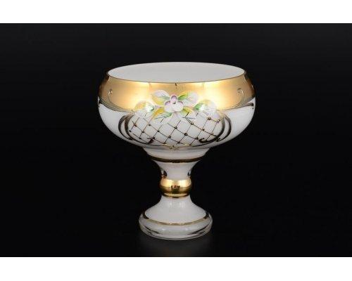 Конфетница 13 см Лепка Белая S-A Богемия Кристал (Bohemia Crystal)