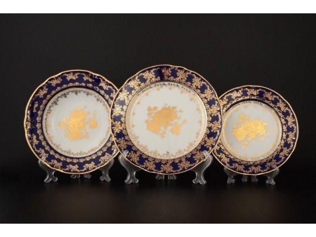 Набор тарелок 18 предметов Тхун (Thun) Констанция Золотая роза Кобальт 7635400