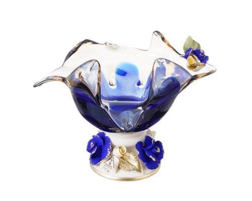 Конфетница White Cristal 18 см синяя