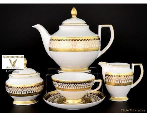 Чайный сервиз на 6 персон 17 предметов Falkenporzellan Toronto B&W Gold