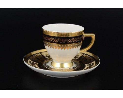 Набор кофейных пар 110 мл Falkenporzellan Diadem Black Creme Gold