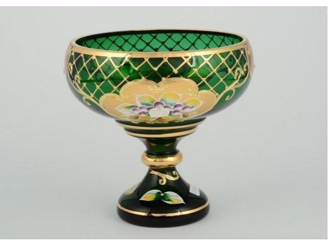 Конфетница стеклянная Лепка зеленая И-В Bohemia Crystal 13 см