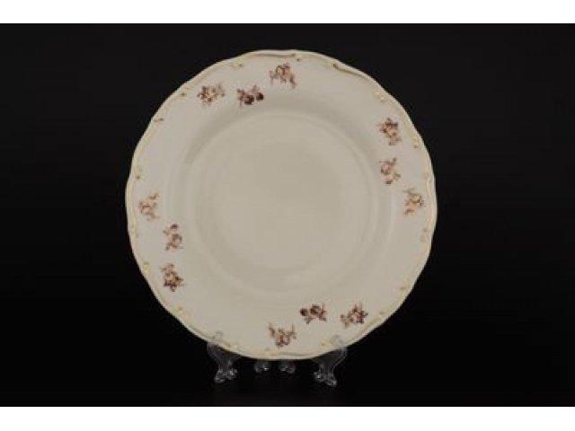 Набор тарелок 25 см Анжелика Слоновая кость Золотая роза Старорольский Фарфор (MZ) (6 шт)