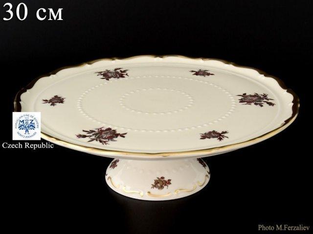 Тарелка для торта на ножке 30 см Анжелика Слоновая кость роза Старорольский Фарфор (MZ)