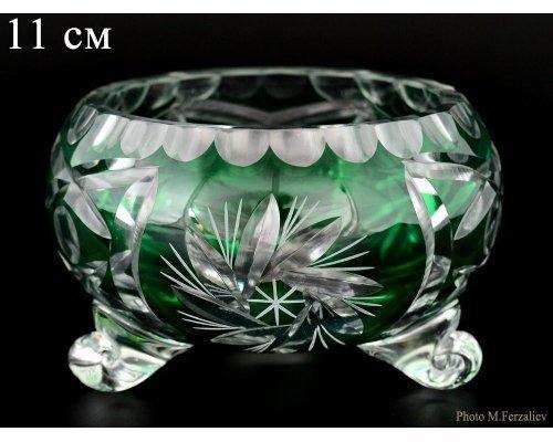 Ваза для конфет тройножка зеленая 11 см Цветной хрусталь Bohemia (Богемия)