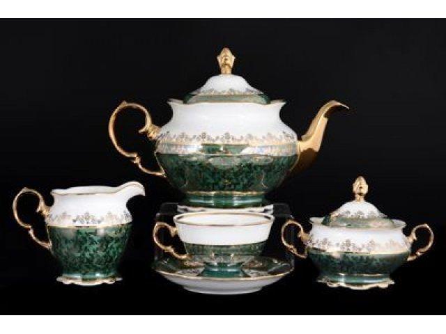 Чайный сервиз на 6 персон 17 предметов Зеленая Паутинка Royal Czech Porcelain