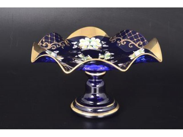 Фруктовница Веер на ножке 27 см Bohemia (Богемия) Лепка Синяя E-V