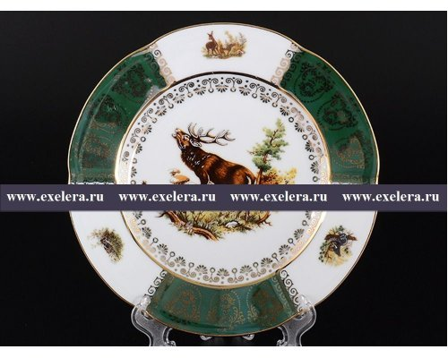 Набор тарелок 19 см Охота Зеленая Барокко Royal Czech Porcelain (6 шт)