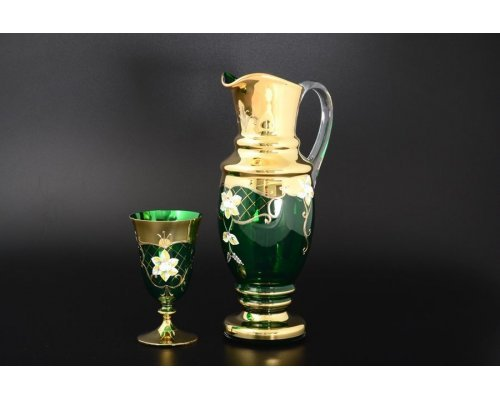 Набор для воды Богемия Кристал (Bohemia Crystal) 7 предметов зеленый