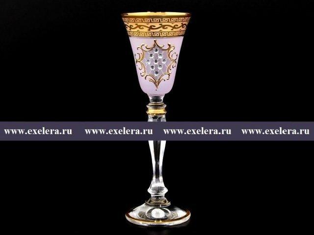 Набор рюмок для водки 50 мл Виктория Версаче Стразы R-G розовый фон Bohemia (Богемия) (6 шт)