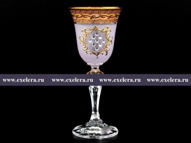Набор рюмок для водки 60 мл Кристина Версаче Стразы R-G розовый фон Bohemia (Богемия) (6 шт)