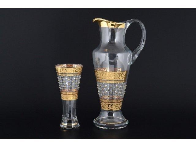 Графин и стаканы для воды набор 7 предметов Махараджа Х-ка камни желтые Богемия Кристал (Bohemia Crystal)