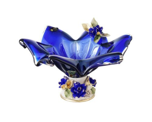 Конфетница White Cristal 25 см синяя
