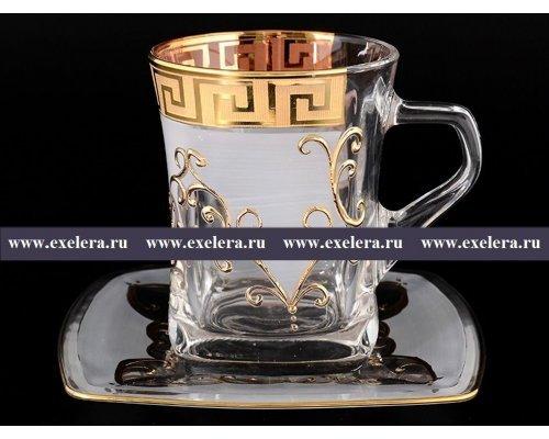 Набор чайных пар Quadro Костка B-G Богемия Кристал (Bohemia Crystal) на 6 персон
