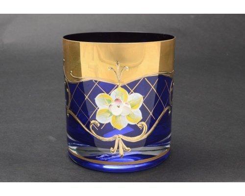 Набор стаканов для виски 280 мл Богемия Кристал (Bohemia Crystal) Лепка Синяя U-R (6 шт)