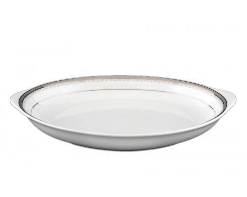 Блюдо для хлеба 33 см Тхун (Thun) Опал Платиновая лента