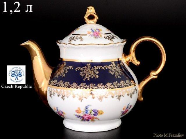 Чайник 1,2 мл Офелия Полевой цветок Кобальт Старорольский Фарфор (MZ)
