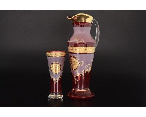 Набор для воды иксовка красная 7 предметов Версаче Богемия B-G фон Богемия Кристал (Bohemia Crystal)