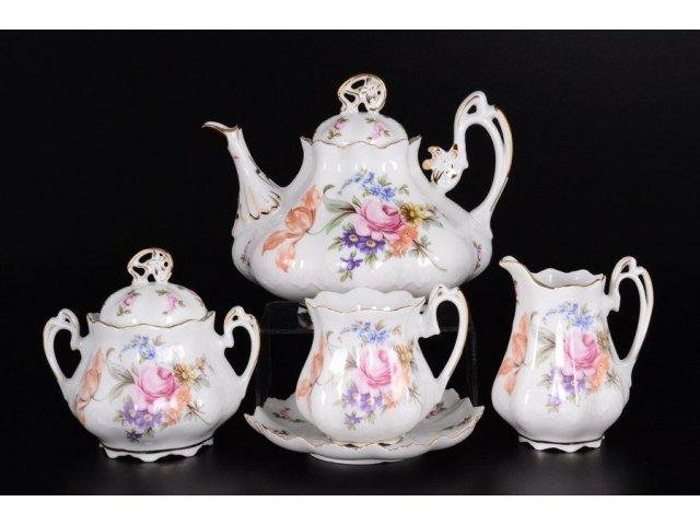 Чайный сервиз на 6 персон 15 предметов Корона Queens Crown Полевой цветок